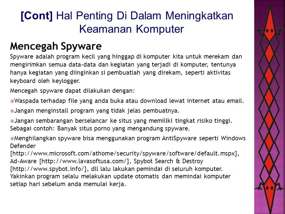 [Cont] Hal Penting Di Dalam Meningkatkan Keamanan Komputer